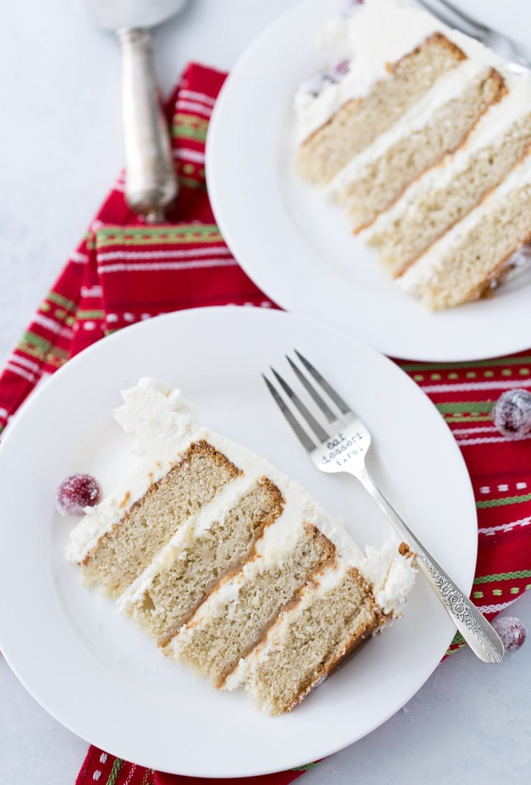 This eggnog bourbon cake is moist, perfectly spiced and topped with whipped bourbon frosting.