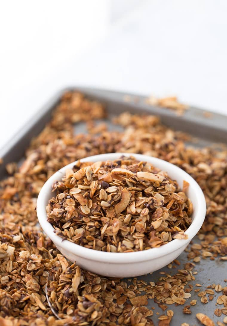 This homemade coconut chocolate chip granola is great for quick snacks and with your breakfast yogurt