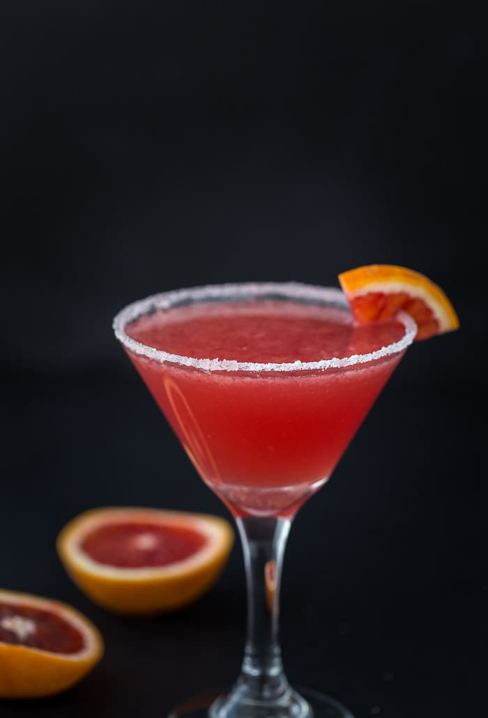 A blood orange vanilla martini with hints of vanilla extract and sweet citrus blood orange.