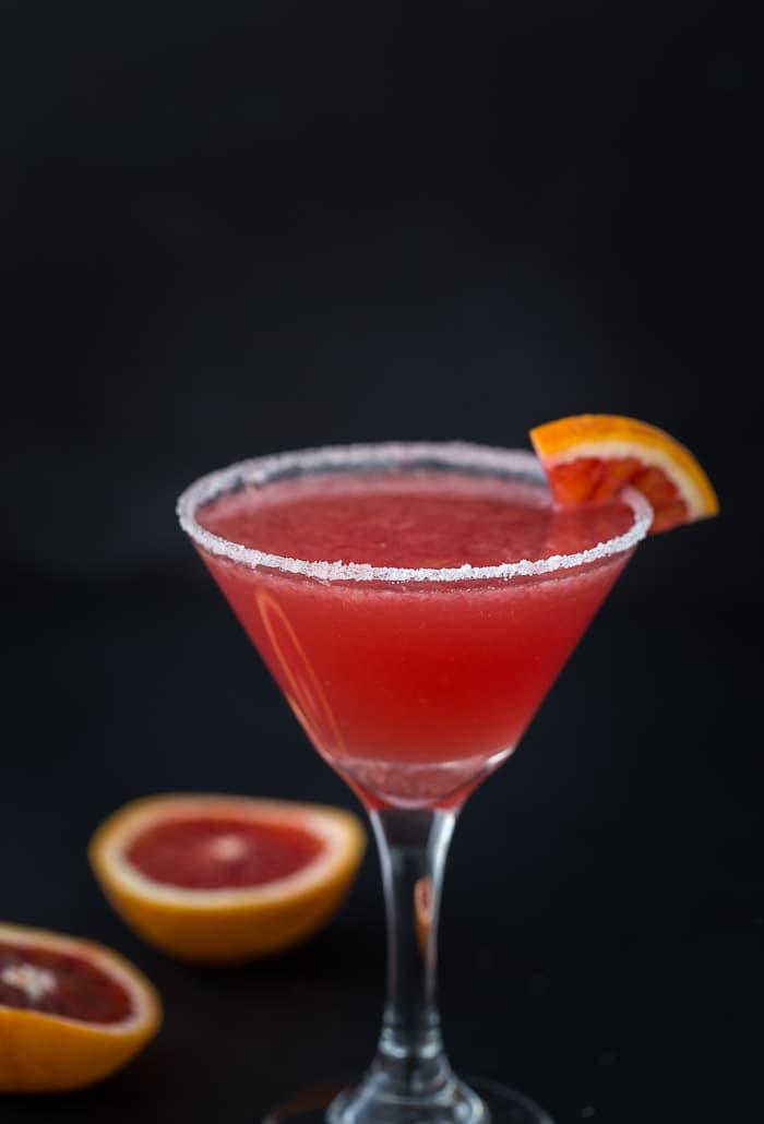A blood orange vanilla martini with hints of vanilla extract and sweet citrus blood orange.
