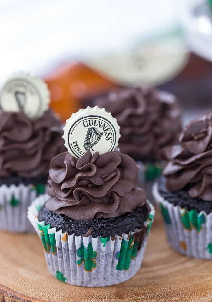 These dark, decadent chocolate Guinness cupcakes are perfect for your St Patrick's Day celebration.