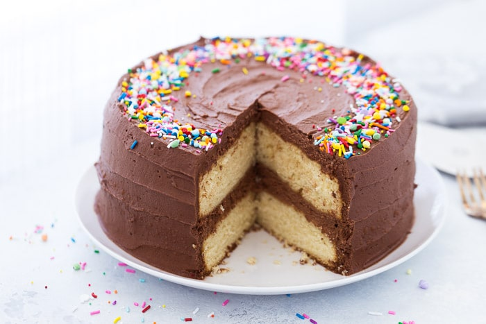 classic yellow cake with chocolate frosting   blahnik baker