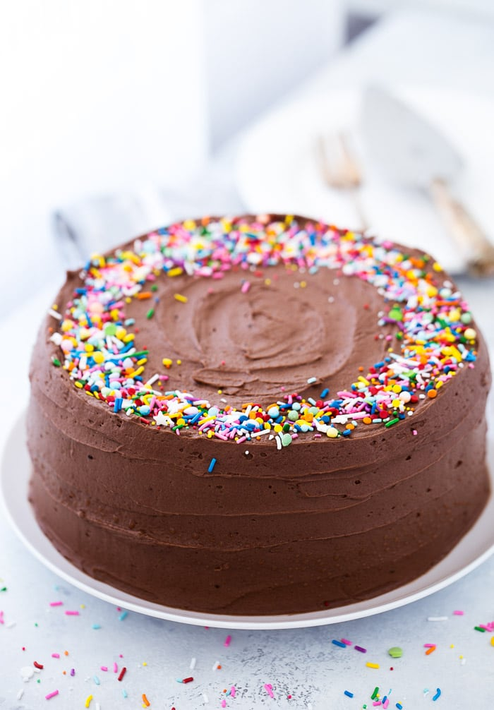 This classic yellow cake with chocolate frosting is a super moist cake with great vanilla flavor and a fudgy chocolate frosting.