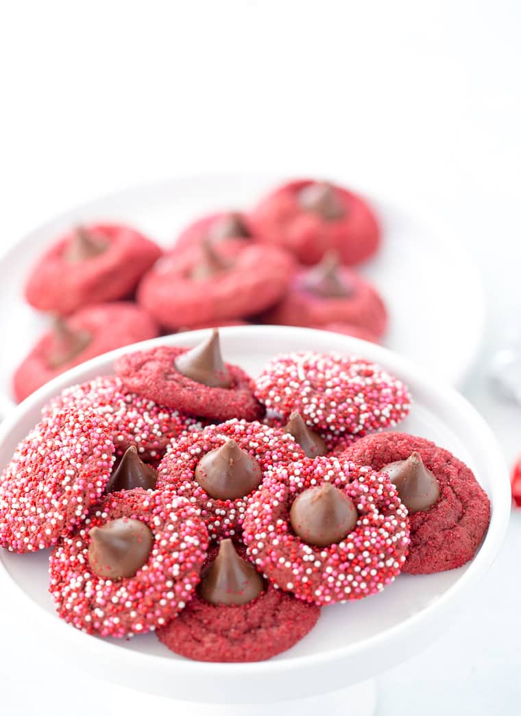 These classic red velvet blossom cookies are crispy, indulgent and perfect for Valentine's Day and Christmas cookie season.