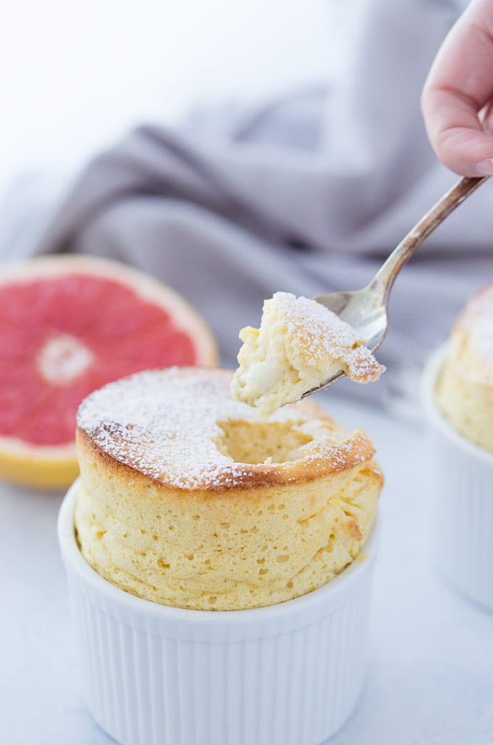 This Grapefruit Souffle recipe is easy to whip up and is infused with sweet and citrusy grapefruit. Perfect for any dinner party.