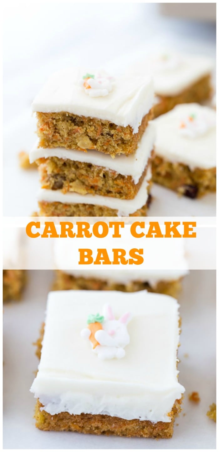 These carrot cake bars are your favorite Easter recipe with perfectly spiced carrot cake and a sweet orange cream cheese frosting.