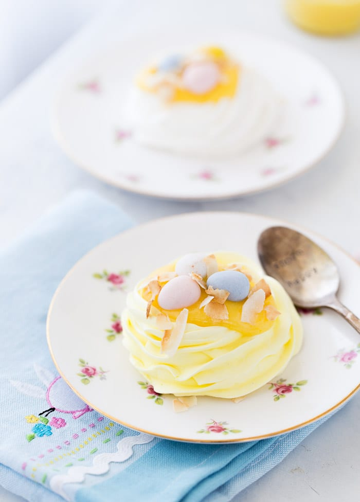 These Easter coconut meringue nests are insanely crunchy on the outside with a rich moist center. They are perfect for all Spring entertaining.