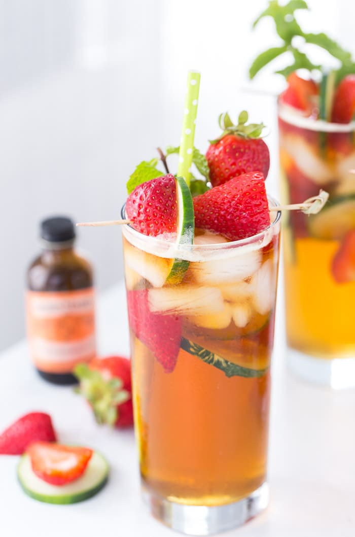 This classic Pimm's cup recipe is refreshing with a splash of orange blossom water and filled with fresh strawberries and sliced cucumber.