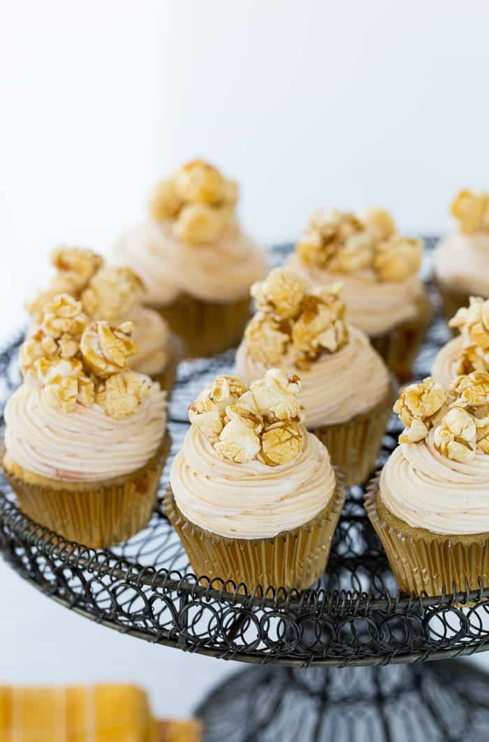 These caramel corn cupcakes are sweet with nutty brown butter cupcakes topped with fluffy caramel frosting. You get all your favorite caramel corn notes.