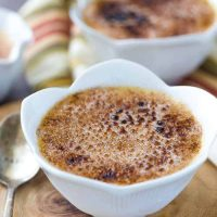 This honey caramel creme brulee recipe starts with a honey caramel infused custard and is topped with a sweet cinnamon sugar caramelized topping.