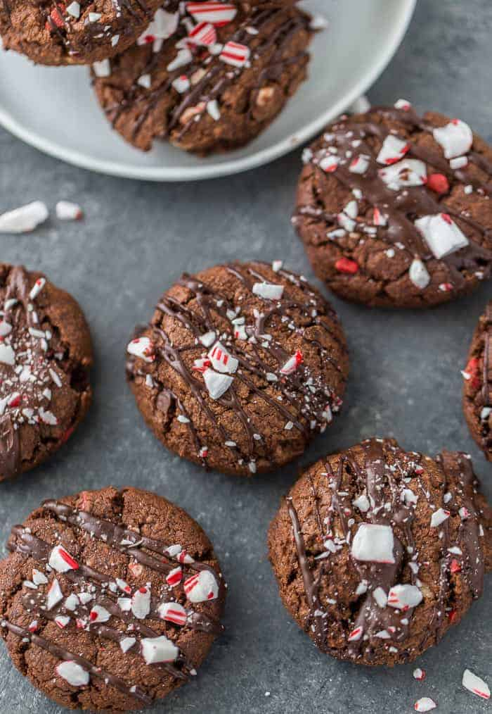 These chewy and indulgent double chocolate peppermint cookies are perfect for your holiday cookie platter!