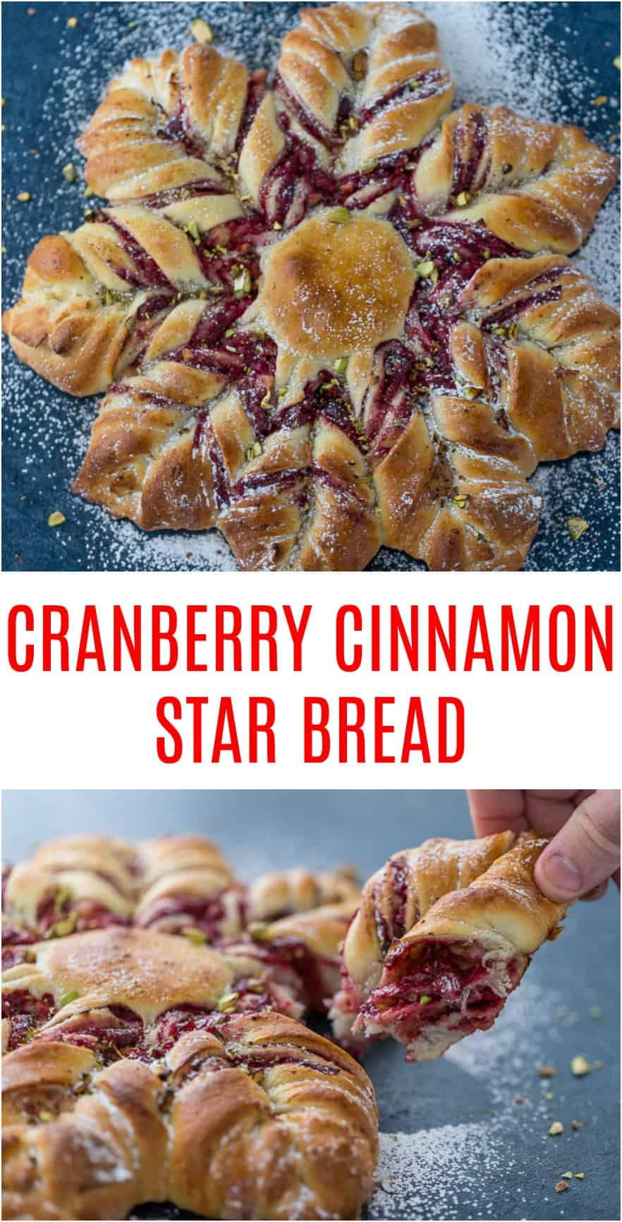 This Cranberry Cinnamon Star Bread is a holiday spectacular with a warm cranberry, brie and pistachio filling wrapped around a fluffy bread. #holidayrecipe #cinnamon #bread #cranberries