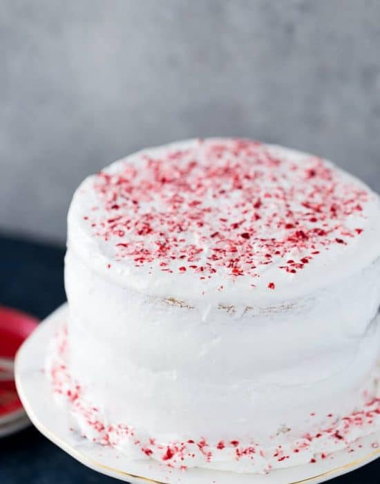 This peppermint layered cake is a holiday special with an airy, light peppermint crunch cake with a sweet peppermint cloud frosting. It's winter perfection.