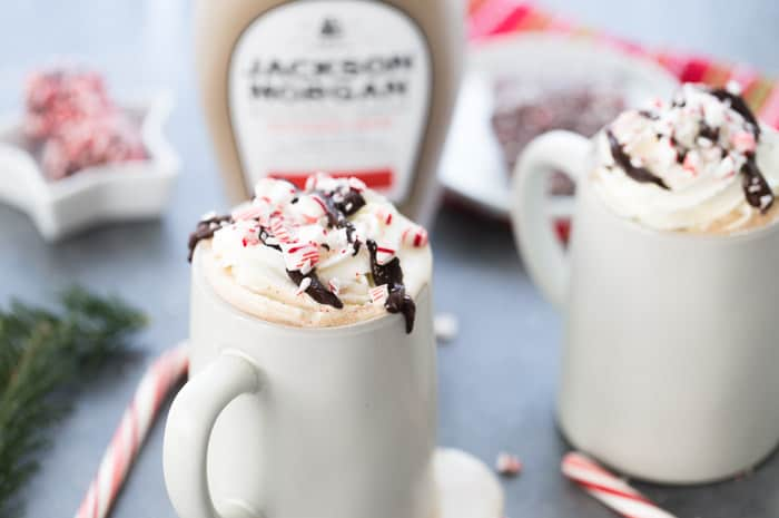 A cozy peppermint mocha cocktail with espresso, indulgent chocolate and a shot of peppermint mocha cream. It's perfect for any cold winter night.
