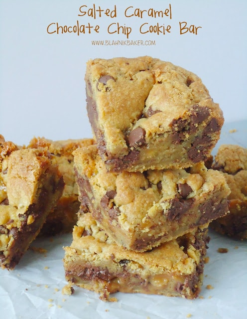 Salted caramel chocolate chip bars