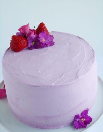 Strawberry lavender cake