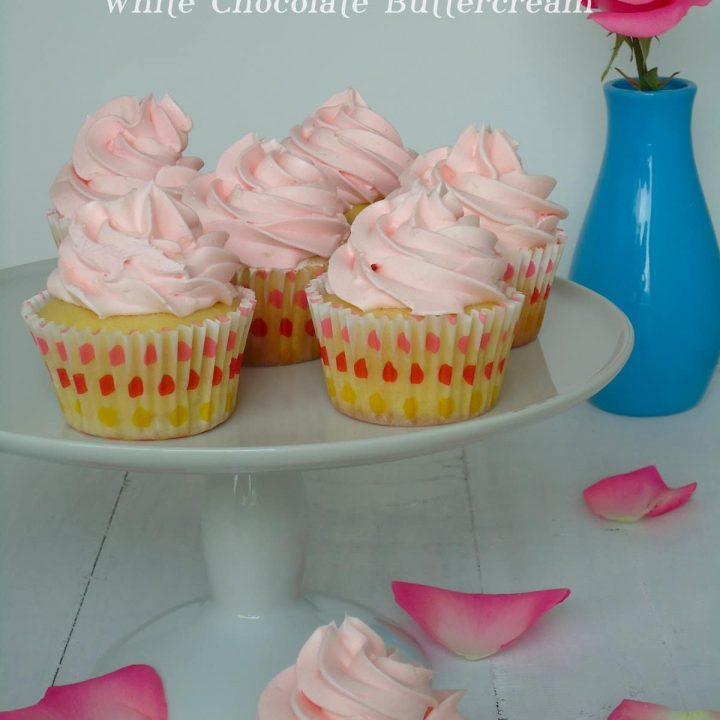White Chocolate Rose Cupcakes