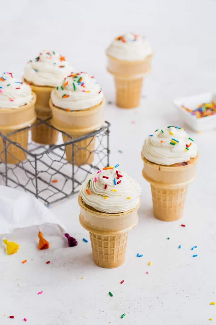Funfetti Ice Cream Cone Cupcakes