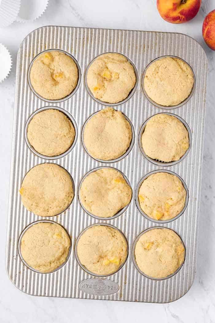 brown butter peach cupcakes