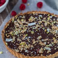 Chocolate Coconut Tart with Raspberries and Almond