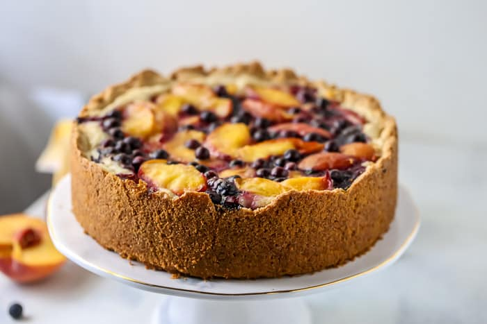 Peach Blueberry Bourbon Cake