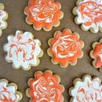 Lemon Sugar Cookies with Marbled Royal Icing