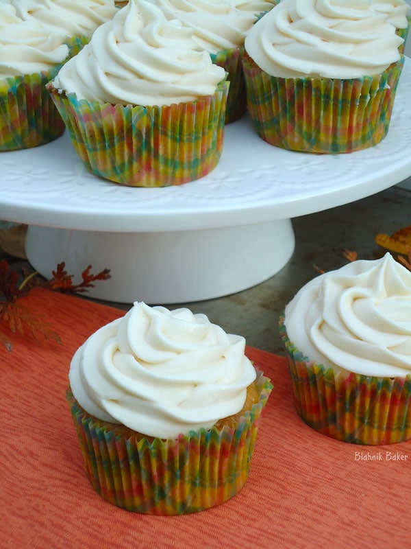 These pumpkin spice cupcakes are moist, flavorful and loaded with warm spices of the fall. Caramel cream cheese frosting makes this recipe a fall must-have.