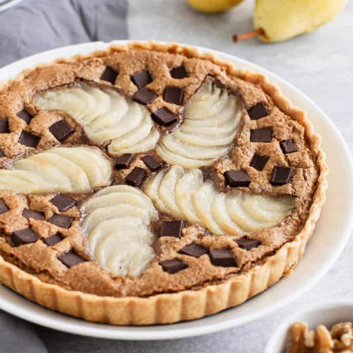 Pear Walnut Chocolate Tart
