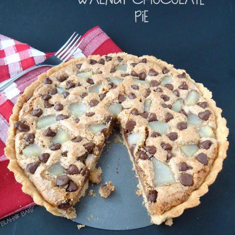Pear Walnut Chocolate Pie
