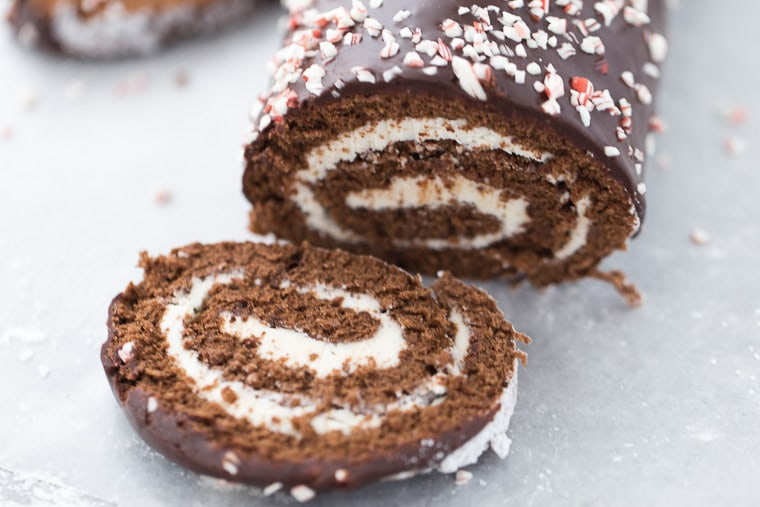 A classic chocolate genoise cake and peppermint frosting makes this peppermint chocolate roll cake an instant holiday favorite.