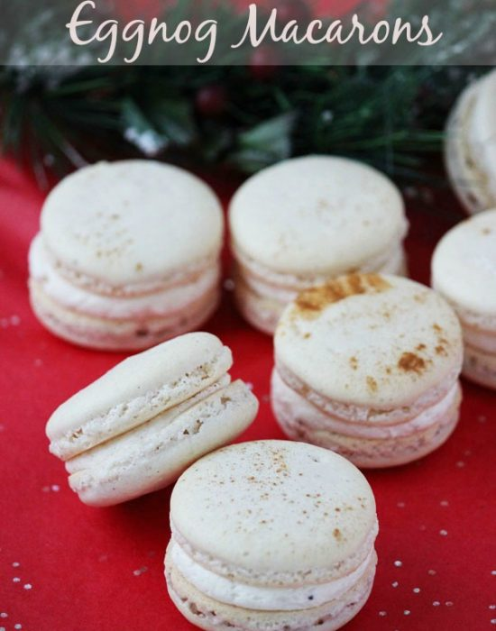 Eggnog macarons are perfectly spiced holiday cookies, with hints of cinnamon, cloves and nutmeg, filled with creamy eggnog buttercream. | Recipe on BlahnikBaker.com