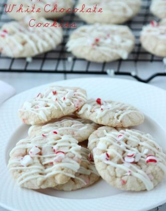 Peppermint white chocolate cookies are soft and chewy, made easy with Pillsbury peppermint sugar cookie dough! | BlahnikBaker.com