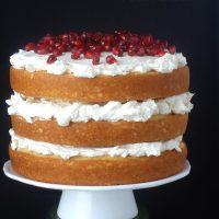White Chocolate Pomegranate Cake