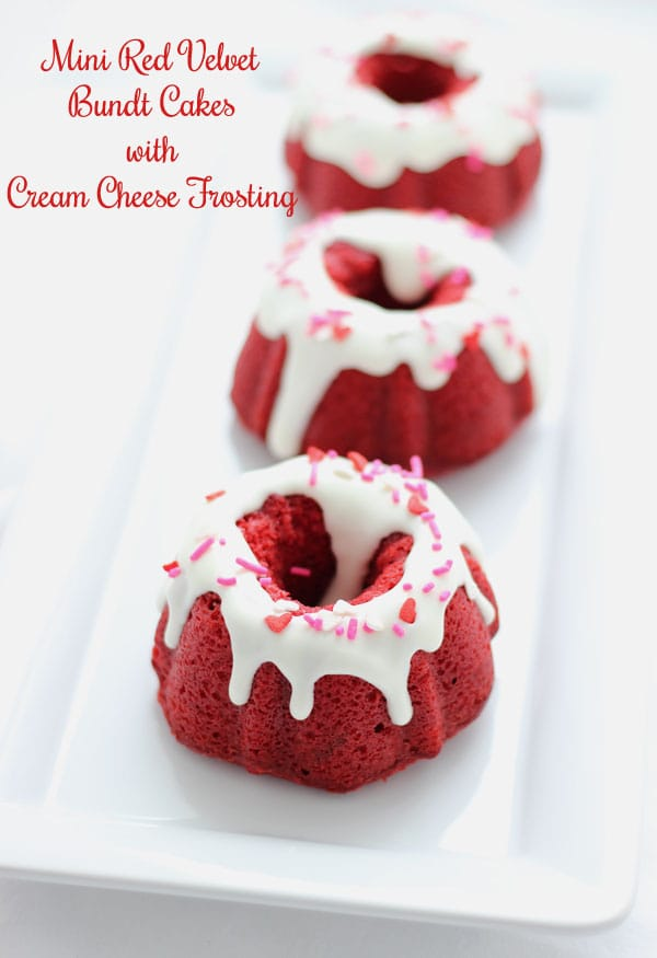 These mini red velvet bundt cakes  are moist, decadent and tangy with traditional cream cheese frosting! Perfect for your Valentine's Day.