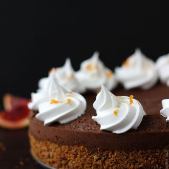 Starting with a pecan graham cracker crust, this blood orange chocolate truffle torte is decadent and fudgy with hints of citrus.