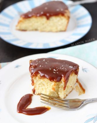 hazelnut cake with caramel sauce