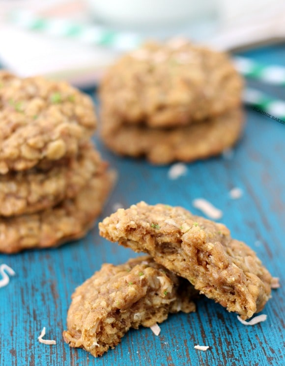 Honey Lime Coconut Oatmeal Cookies