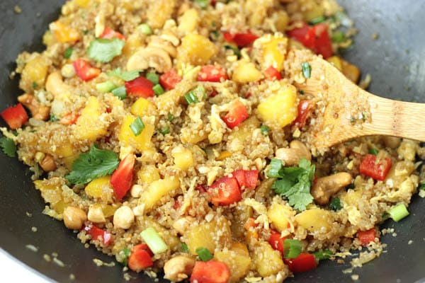 pineapple cashew quinoa fried rice