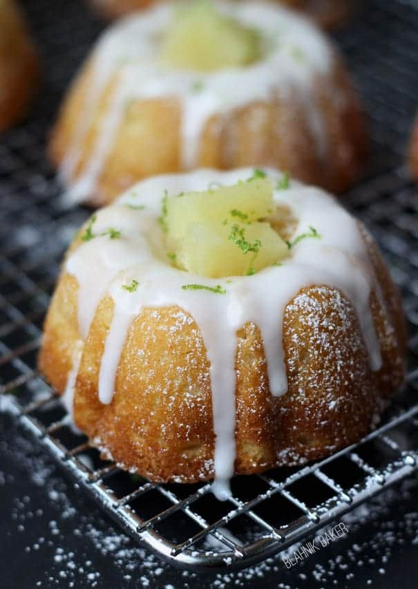 Mini Pineapple Lime Mojito Bundt Cakes