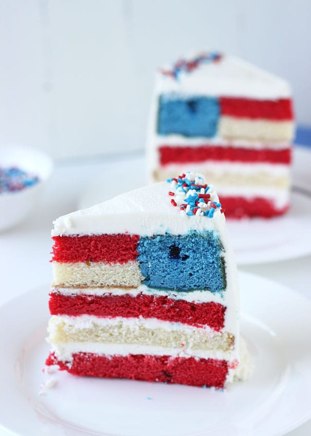 Red white and blue layered flag cake