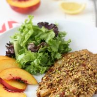 Pistachio Crusted Tilapia and Peach Salad