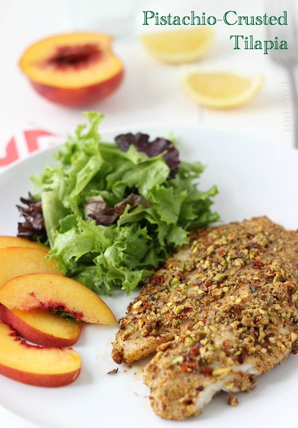 Pistachio Crustred Tilapia and Peach Salad