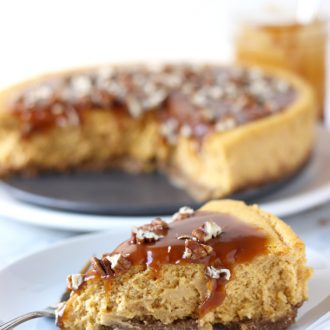 Pumpkin Pecan Cheesecake with Salted Caramel Sauce