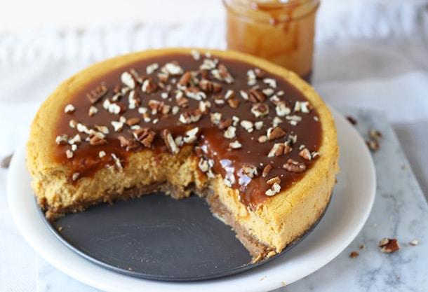 Pumpkin Pecan Cheesecake with Salted Caramel Sauce