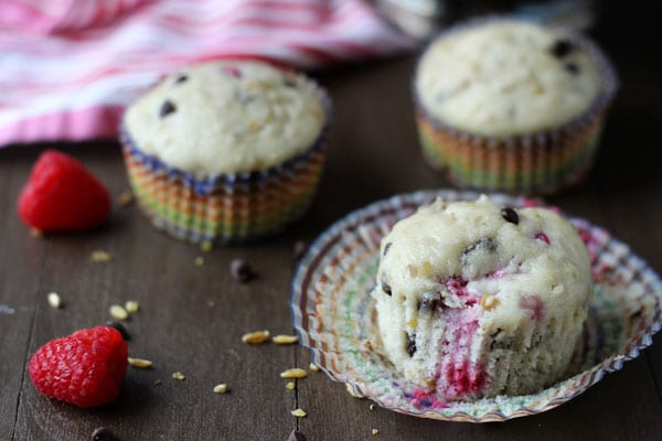 Chocolate Raspberry Freekeh Muffins - a hearty moist muffin filled with whole grain freekeh