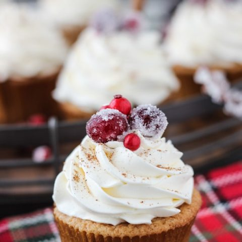 Spiced eggnog cupcakes with whipped bourbon buttercream!