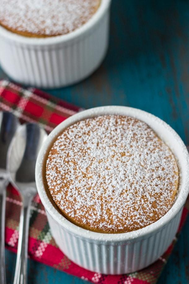 Eggnog Pudding Cake- pillowy and gooey eggnog cake for the holidays!