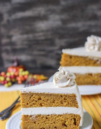 Spiced Pumpkin Cake with Brown Sugar Frosting - Sure to become one of your favorite Thanksgiving desserts!