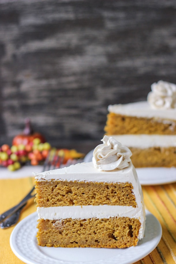 Spiced Pumpkin Cake with Brown Sugar Frosting - This will become one of your favorite Thanksgiving desserts!