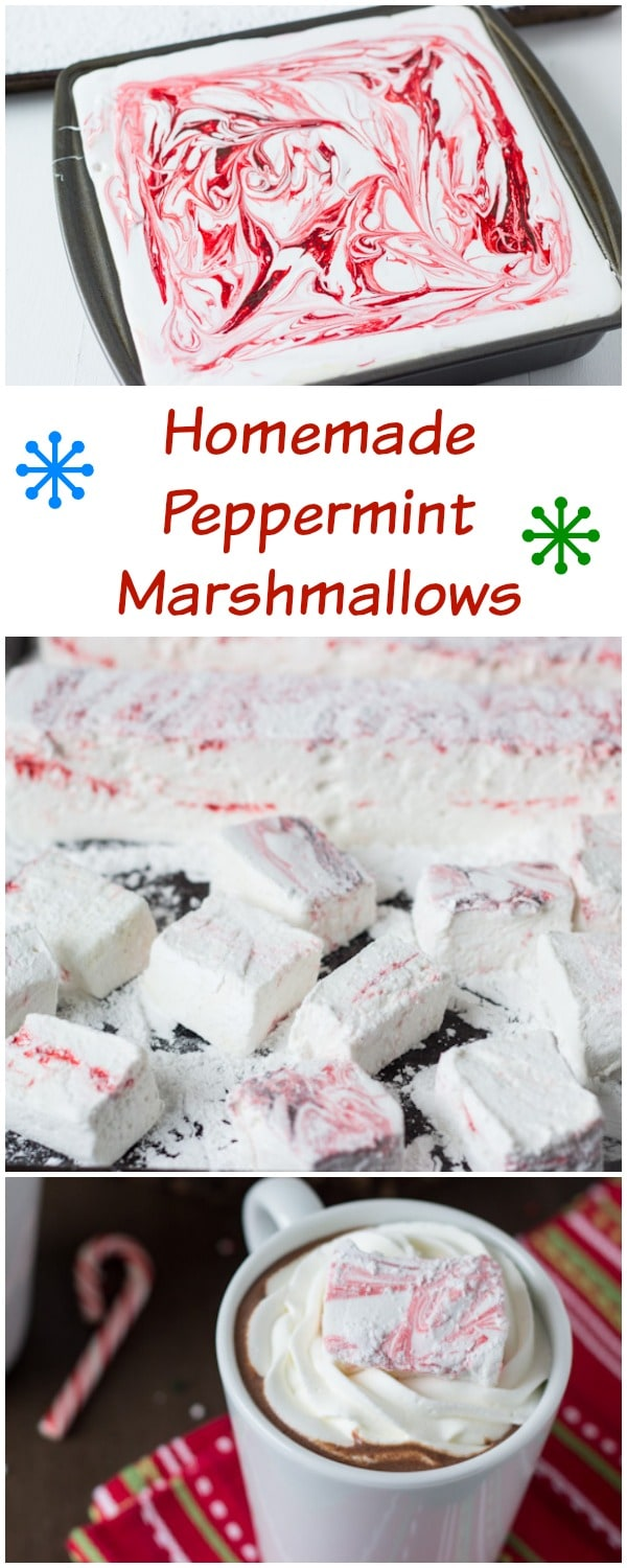 Homemade peppermint marshmallows go hand in hand with homemade peppermint hot cocoa!